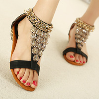 National trend crystal bead sandals gladiator style leopard print color block decoration platform wedges sandals women's shoes