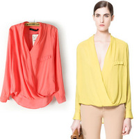 2013 new Fashion Womens Long Sleeve Shirts Deep V Neck Solid Elegant Loose Ladies Blouses PS0168