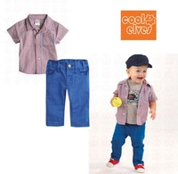 Free shipping 2013 New Summer 2-pcs Plaid baby boy kids clothing sets (short sleeve t shirt+pants),5 sets / lot