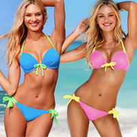 2014 Hot Sell Summer Victoria StyleMulticolorFashion Strappy Bathing Suits Candies Swimwear High Waist Bikini Free Shipping Z043