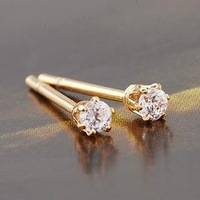Women's Crown Style 24K Real Gold Plated & 6 Prongs 4MM 0.65 CT Brilliant Cut Grade AAA CZ Diamond Stud Earring (0225)