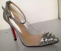 2013 New Fashion star women's pointed toe sandal shoes rivet transparent paillette belt thin heels sexy ultra high heels sandals