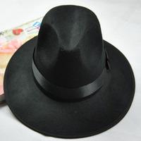 Woolen Fedora felt wool hat female fashion spring and summer men chapeau women large brim sun-shading sun hat