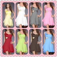 Beautiful Chiffon Short Prom Dresses Light Blue/Yellow 8Colors, Sweet One Shoulder Ruffled Bottom Dress  #JM06080--Free Shipping