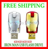 Free shipping 2013 hot sale usb Hot Iron Man Shaped USB Flash Disk Drive 32GB Fashion style