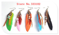Indian customs beautiful color of millet bead feather earrings earrings of foreign trade
