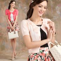 free shipping Summer women's thin sweater short-sleeve small cardigan shrug small cape short flowers desigan jacket