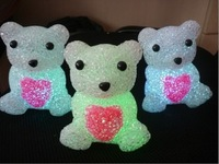 Crystal care bear night light colorful particle gift celebration supplies 0.13kg  Wholesale