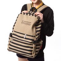 Stripe  female fashion preppy style vintage  canvas bag student school bag
