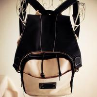 Women's handbag double  summer color block large capacity canvas leather  female middle school students school