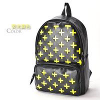 Cross cutout neon color block color  school bag