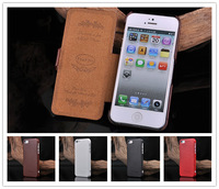 New Fashion Genuine Real Leather Case For iphone 5 Flip Cover High Quanlity Cell Phone Cases
