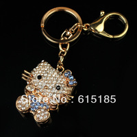Free Shipping wholesale key chains, mix order $15 alloy rhinestone hello kitty key bag chains in golden tone-7010 3pc/lot