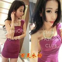 2013 women's sexy slim spaghetti strap slit neckline slinky cutout hip slim one-piece dress