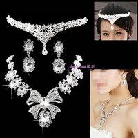 Fashion bridal jewelry sets white big bow necklace crown earrings full rhinestones women wedding jewelry free shipping 073