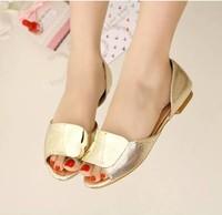 Gold silver 2013 flat sandals metal decoration open toe bright color women's shoes