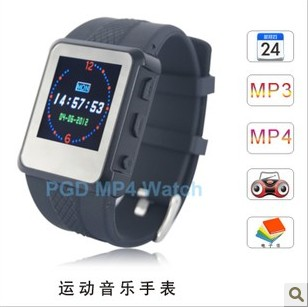 Music watch sports mp3 video player fm radio e-book reading Free Shipping Dropshipping Wholesale(China (Mainland))