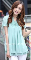 Free shipping 2013 new women's lace short-sleeved big yards long section of loose chiffon shirt M-XXXL