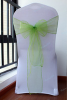 50pcs Home/Wedding /Patry /Banquet Decor Apple green Organza Chair Bow Cover Sashes Decoration Gauze free shipping