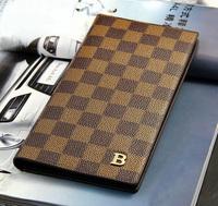WBG0349 New fashion Business check bifold men male luxury leather wallet purse clutch card case handbag free Drop shipping