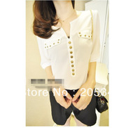 Free shipping 2013 new summer rivet decorate v-neck half of sleeve chiffon bluse JCK0161