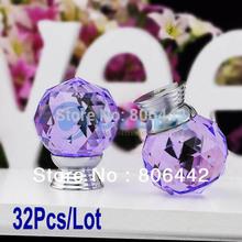 Wholesale 32Pcs/Lot 30mm Glass Crystal Round Cabinet Knob Drawer Pull Handle Kitchen Door Wardrobe Hardware Purple TK0737(China (Mainland))