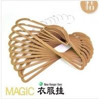 free shipping 15pcs/lot .Quality flocking hanger, non-slip hangers magic hangers, racks (15pcs/lot)