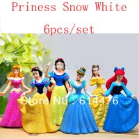 Free shipping 70sets/lot Shiny Princess Ariel Cinderella Snow white Belle Cartoon Figure Doll Set of 6pcs