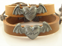 Best Selling Lovely Angel  Leather Wristband ID Bracelets  In Stock For Women Wholesale