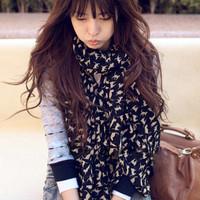 2012 spring design long silk scarf velvet chiffon little cat pattern faux silk scarf