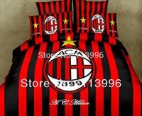 New AC Milan Football Club Boys Girl Cotton Duvet Quilt Cover Bedspread Pillowcases Set Single Size Bedding Set Bed linen Gift