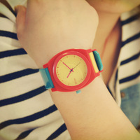 Fashion color block decoration the trend of the schoolgirl multicolour candy color jelly watches