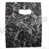 180pcs/lot Free Shipping 25*22cm Black Flower Plastic Boutique Practial Flexiloop Handle Shopping Gift Package Bag 120419