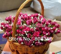 100pcs 22cm Length Artificial Cute Little Rose Bud Bouquets Wedding Christmas Party Home Decorations Five Colors Available