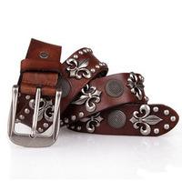 free shipping western men/women real leather belt ,fashion leisure alloy head rivet pin buckle belts