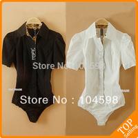 black Leopard body shirt pure colour ladies' blouse slim bodysuit shirt Short sleeve large button career business OL tops QLT21