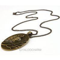 4pcs New style Vintage Bronze Hollow owlet ellipse 6.9*4.7cm long 72cm girl Necklace 61784