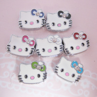 Free Shipping 8mm DIY Hello Kitty  Slide Charm 50pcs Fit For Bands