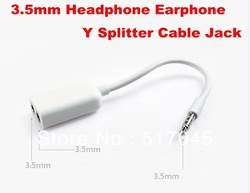 Cheap 3.5mm 1 Male to 2 Female Audio Splitter Adapter Cable for New iPad 2 iPhone 4 4S Touch 4 New 200pcs/lot Free Shipping(China (Mainland))