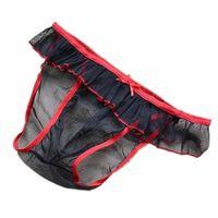 Low-waist male panties gauze transparent panties briefs mesh breathable black lace