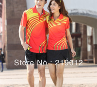 Wholesale Paragraphs 2013 YY feather men and women lovers table tennis lovers suit with short sleeves (shirt+shorts)