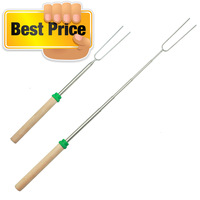 Free shipping! Stainless steel telescopic extendable long marshmallow bbq fork camping fork