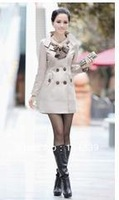 2012 Hot Womens Lady Double Breasted Long Jacket Scarf Coat Outwear XXO Free Shipping