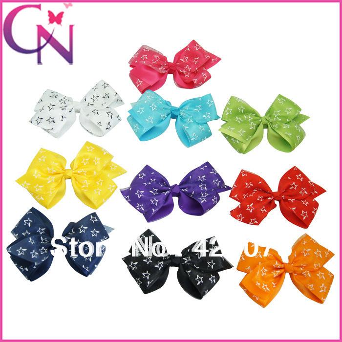 40 piece/lot baby handmade hair clips high quality organza and satin ribbon hair bow for fashion girls(China (Mainland))