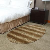 Carpet fashion oval dark color leopard print coffee table computer chair pad stripe