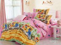 New Beautiful 4PC 100% Cotton Comforter Duvet Doona Cover Sets FULL / QUEEN / KING SIZE bedding set 4pc cartoon pink bear