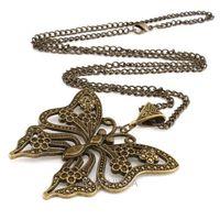Girl elegant big pendant 5*5.6cm long 72cm new Vintage Bronze Butterfly necklace 61779