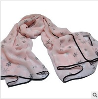 2014 spring and summer new arrival velvet chiffon scarf pattern large facecloth cape
