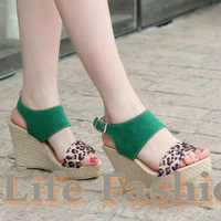 Free shipping,2013 fashion,leopard,summer slippers,sweet,Women's sandals,platform shoes,wedge heels,woman's shoes,4 colors