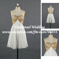 Brilliant Sweetheart Pleat Chiffon Short Real Picture Gold Beaded White Cocktail Dresses 2013 RE187
